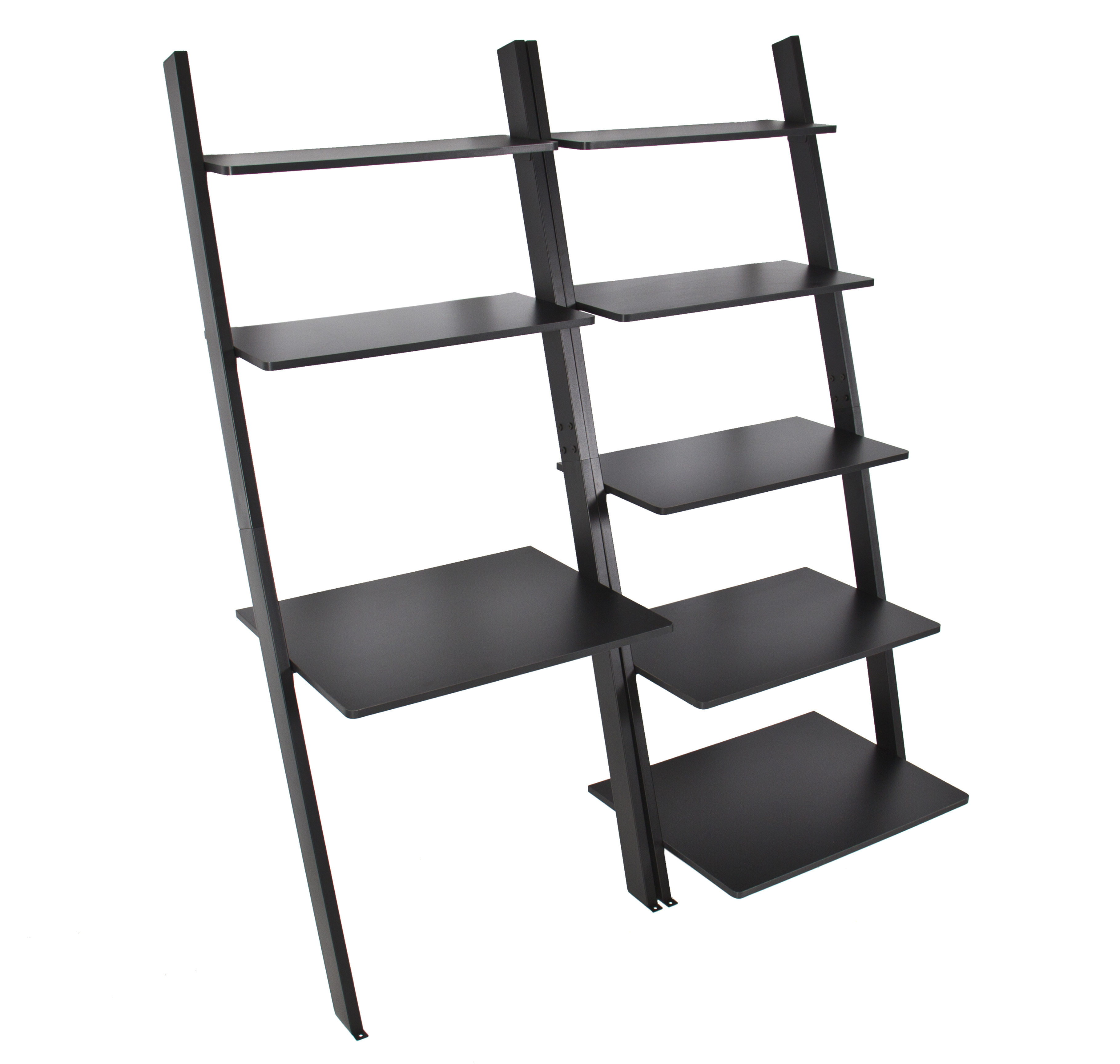 Best Choice Products 7 Shelf Leaning Bookcase And Computer Desk For Home And Ofice Furniture Black Walmart Com