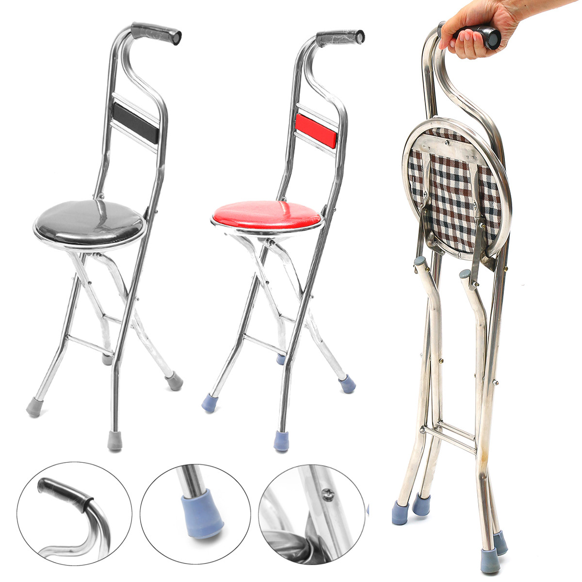walking stick chair folding lounge chairs for outside 2 in 1 stainless steel portable seat stool travel cane elderly care walmart com