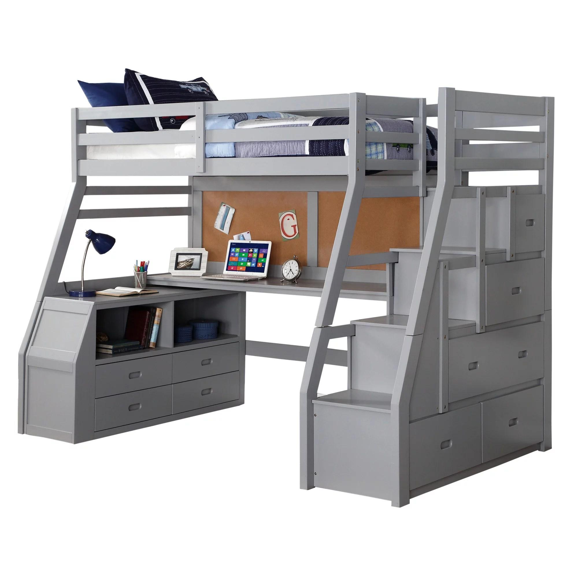 Double Loft Bed With Desk And Storage Novocom Top