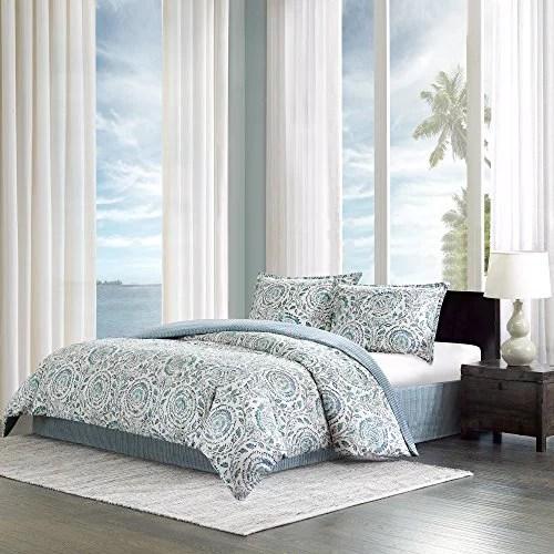 echo design kamala twin size bed comforter set blue white floral medallion 3 pieces bedding sets 100 cotton sateen be