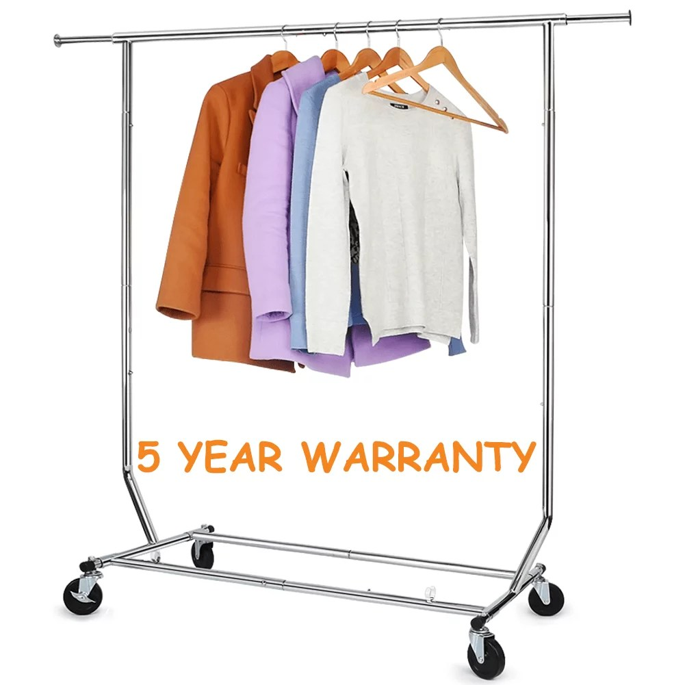 250 lbs heavy duty clothing garment rack commercial rolling clothes rack on wheels adjustable collapsible chrome finish