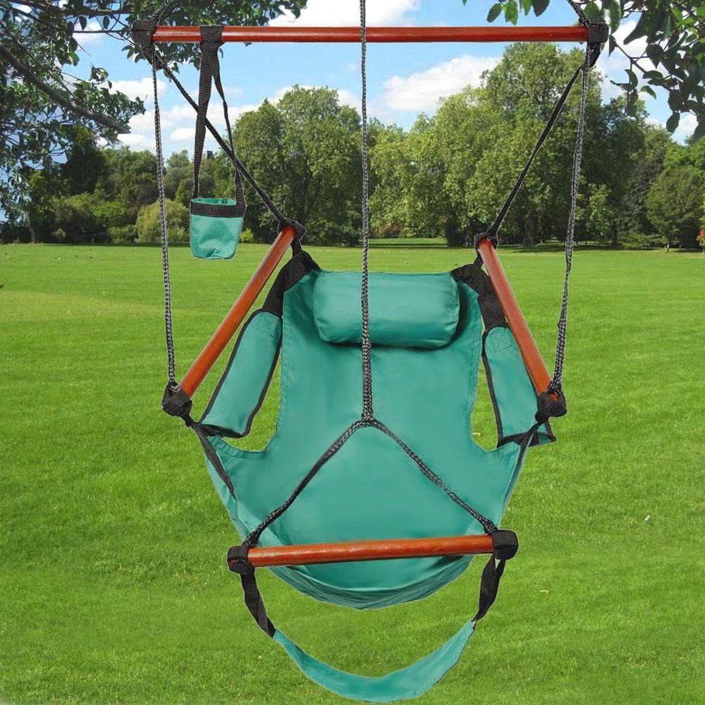 hanging chair rope leather ikea ktaxon garden patio yard green leisure swing hammock camping 250lb multicolor walmart com