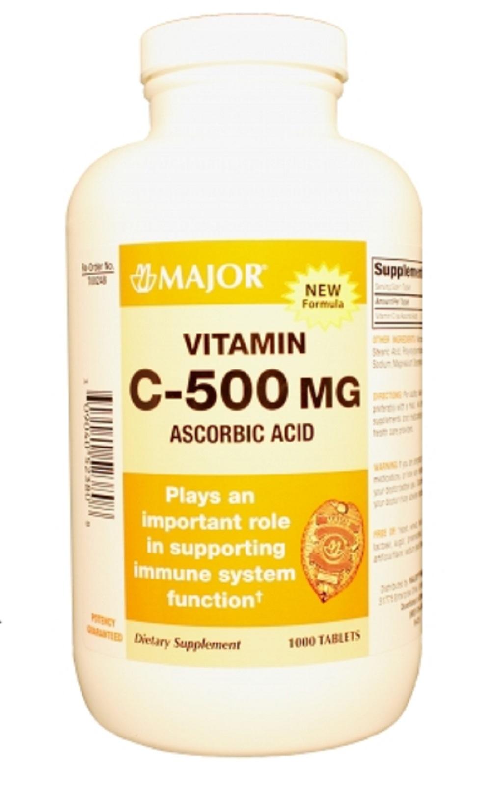 Major C 500Mg Tabs Ascorbic Acid-500 Mg White 1000 Tablets ...