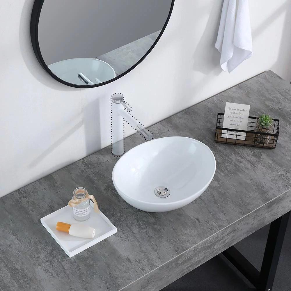 ubesgoo bathroom vessel sink porcelain porcelain ceramic above counter basin vessel vanity sink art basin with pop up drain ideal for home restaurant