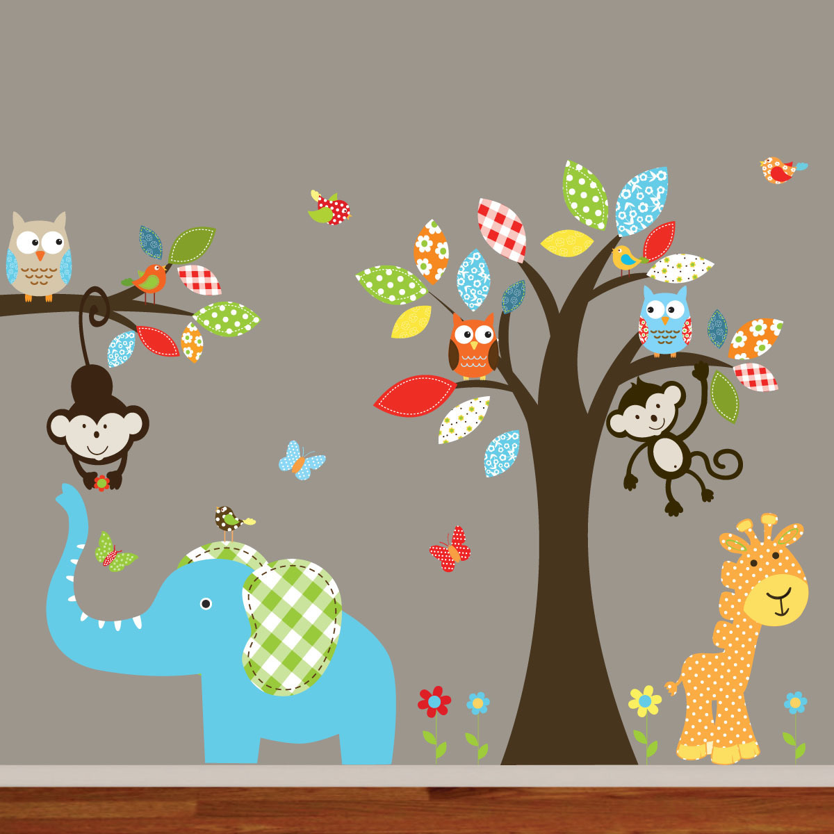 Wallartdesign Nursery Wall Art Colorful Safari Animal Owl