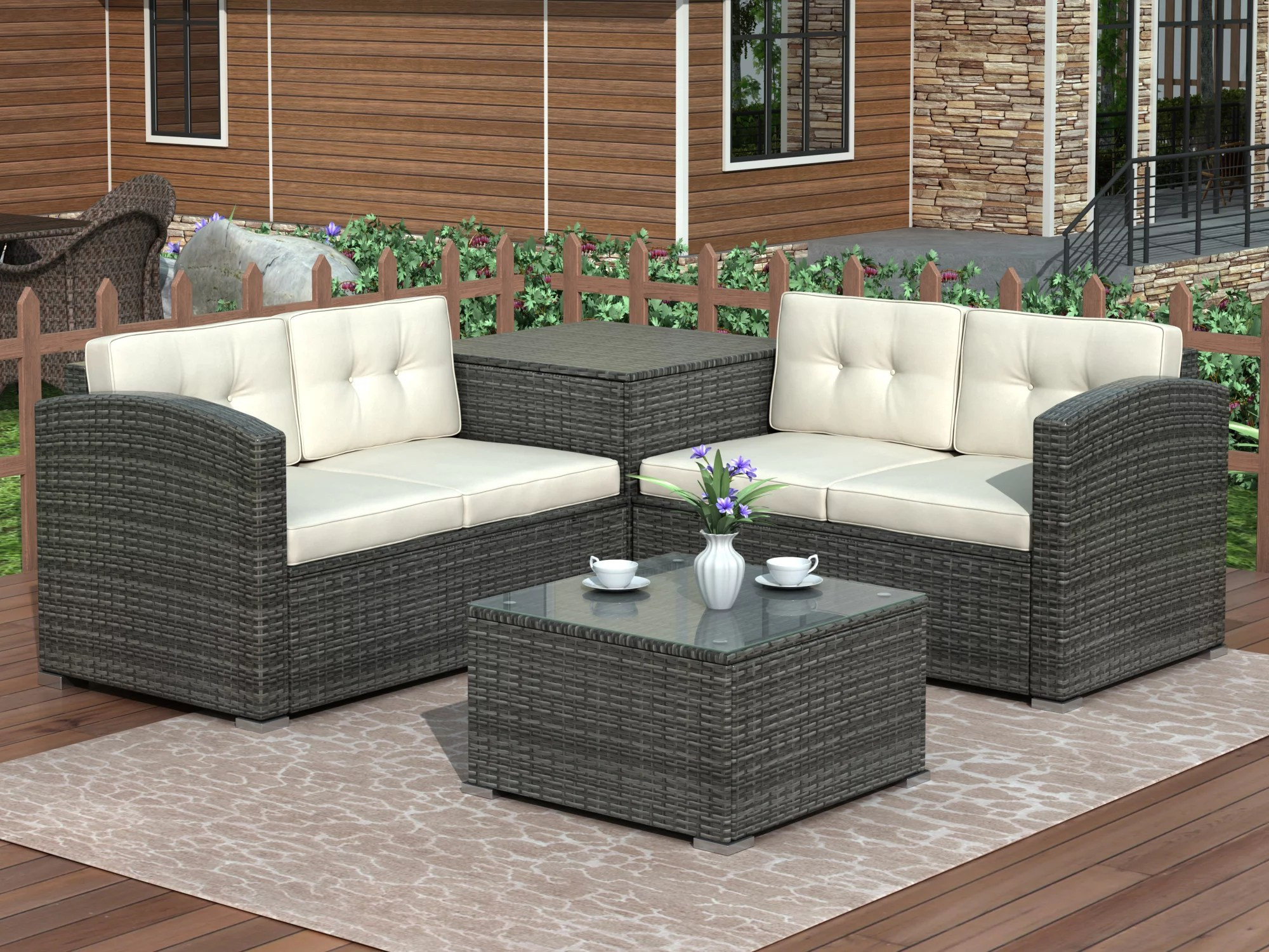 patio dining sets clearance 4 piece wicker bistro patio set with ottoman loveseat sofa glass coffee table pe rattan outdoor conversation set patio