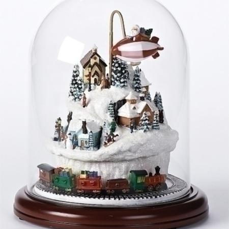 9 Lighted Musical Village Scene With Rotating Train Christmas Dome Decoration