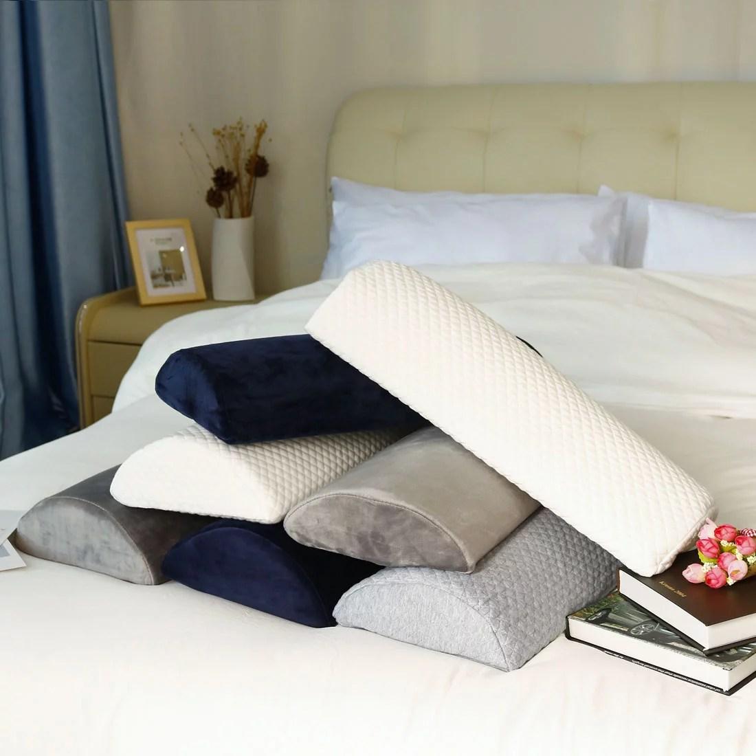memory foam roll body pillow bolster semi roll neck back leg knee with fleece cover half moon
