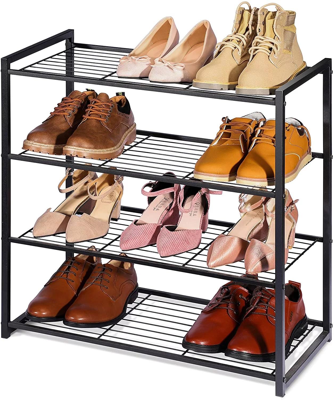 titan mall shoe organizer free standing shoe rack 4 tier shoe rack black metal shoe rack 25 inch wide shoe tower shelf storage