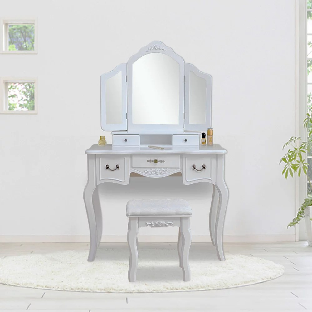 girls vanity desk with mirror vanity table and stool upgrade dressing table makeup table writing desk with 5 drawers makeup vanity set and