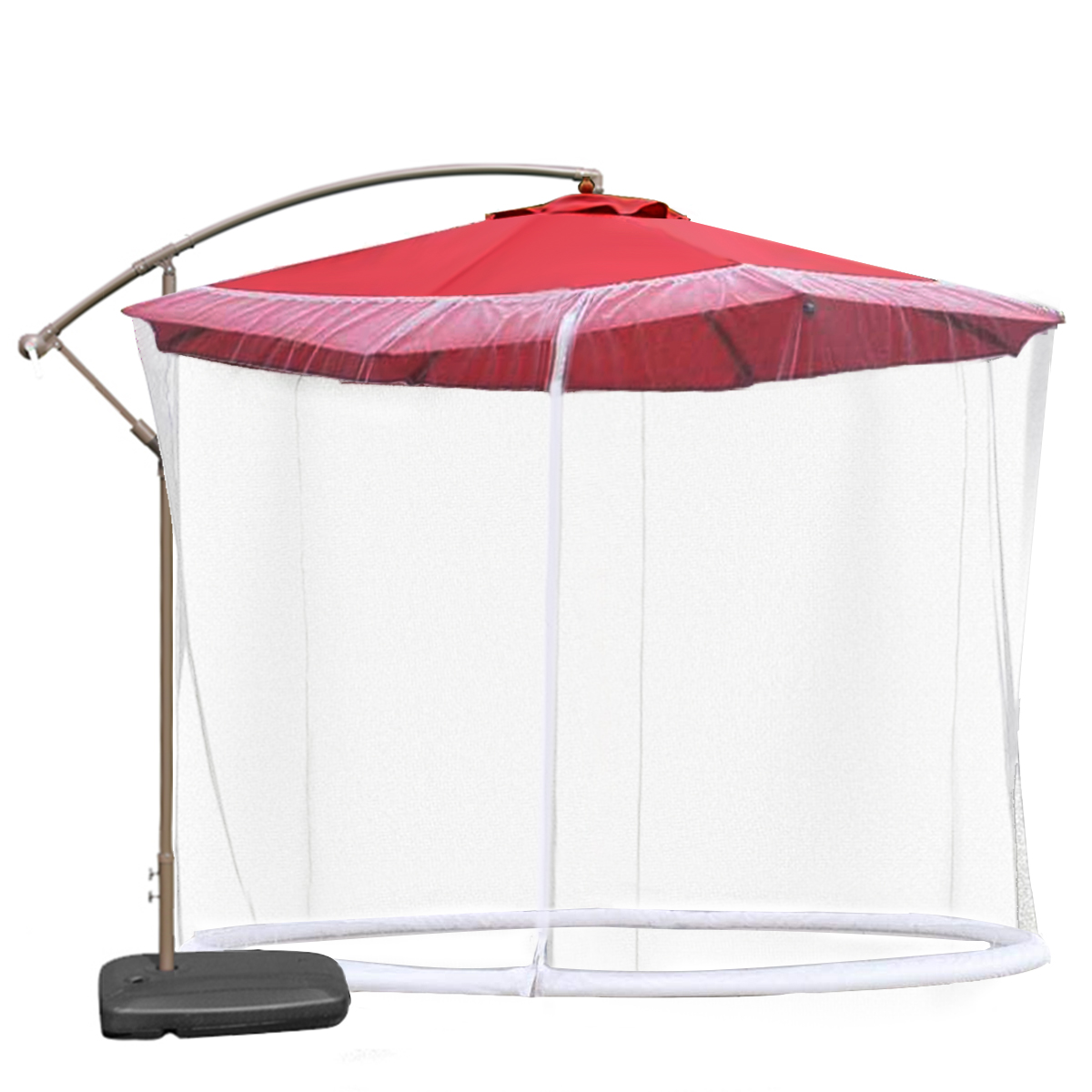 outdoor 9ft patio curved arm umbrella bug screen w zipper door and polyester netting anti mosquito net cover black white