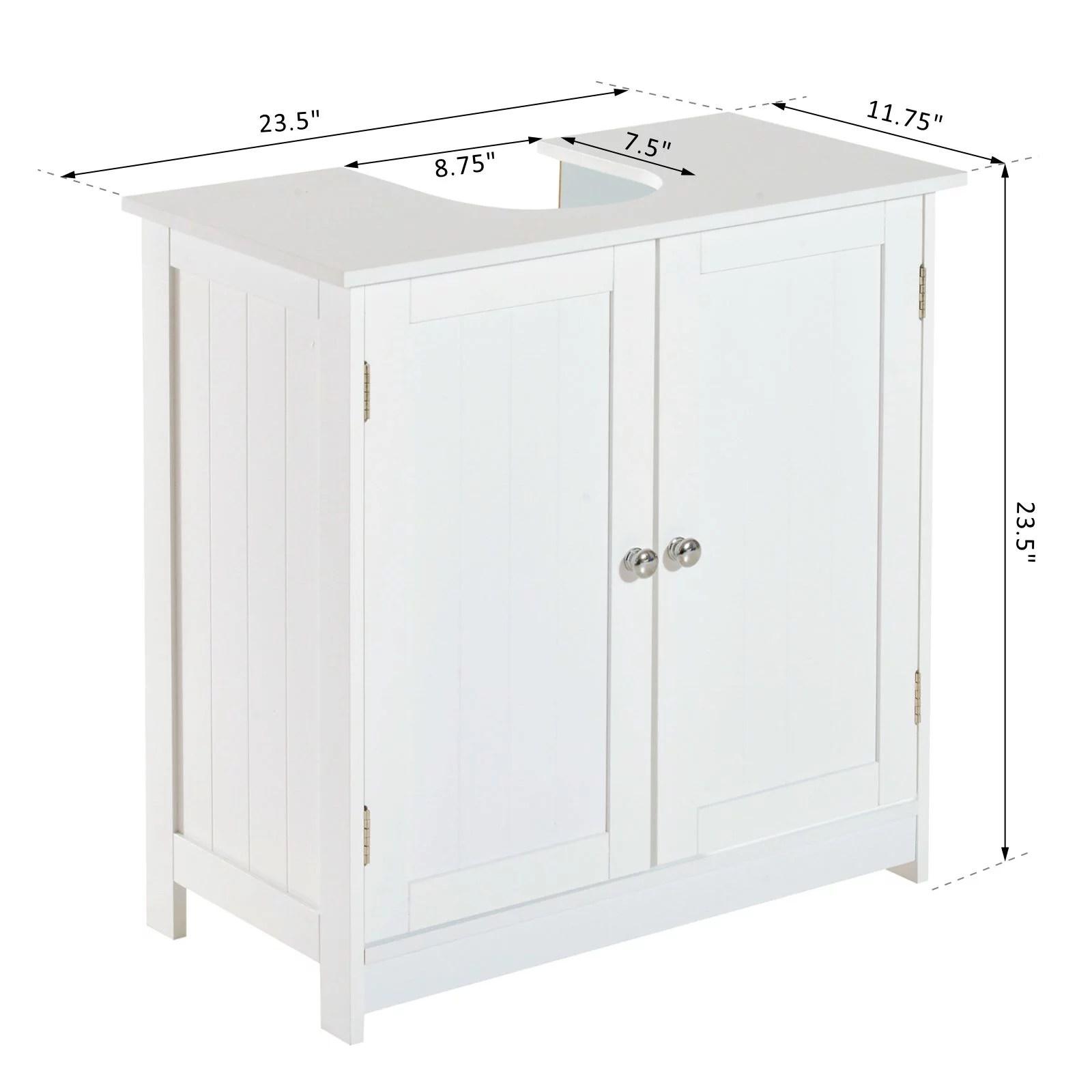 Homcom 24 Pedestal Sink Bathroom Vanity Cabinet White Walmart Com Walmart Com