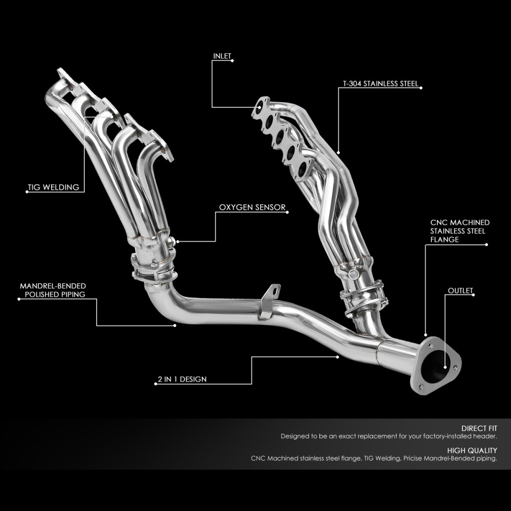 medium resolution of for 1999 2004 ford f250 f350 super duty 6 8l v10 stainless steel mid length exhaust header manifold w y pipe walmart com
