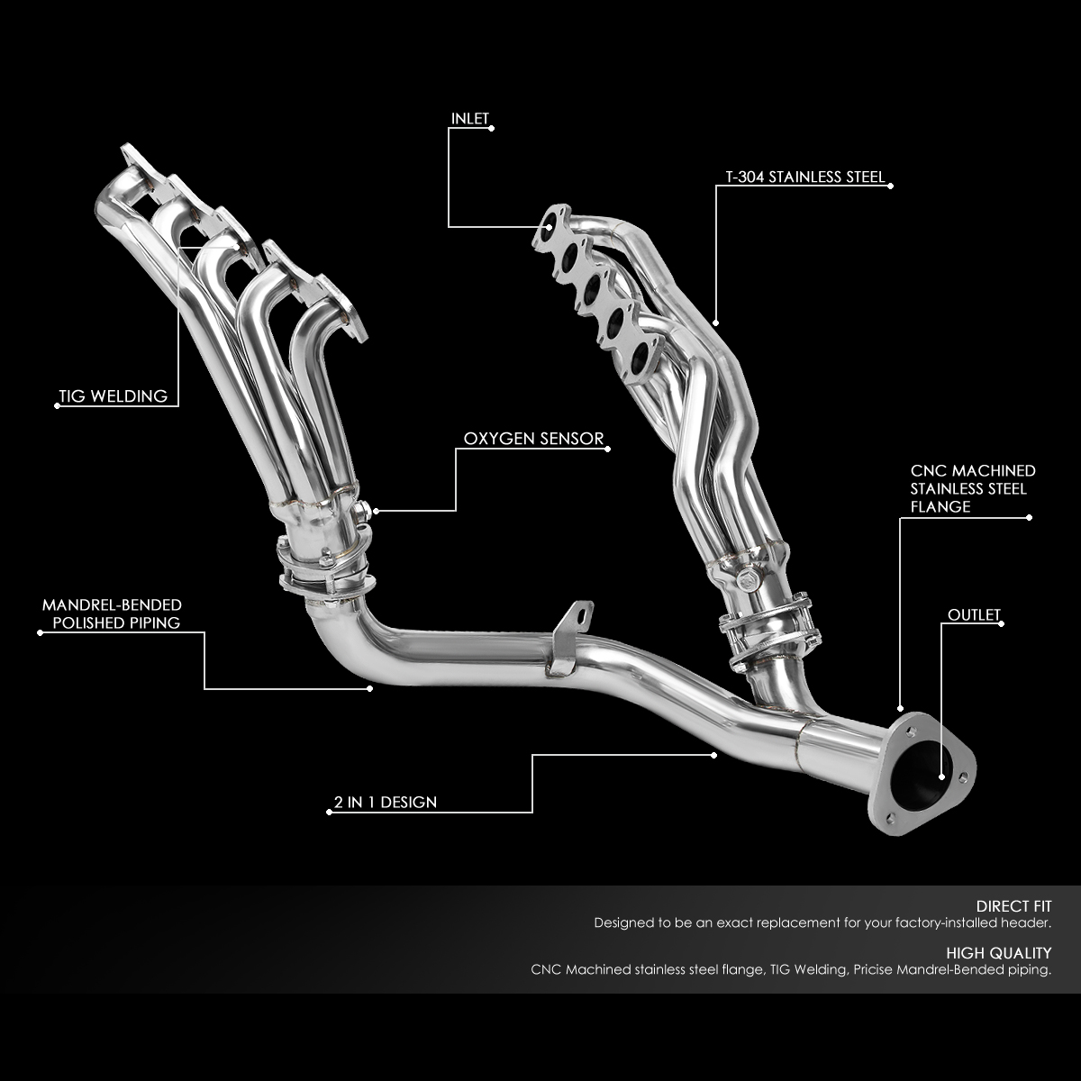 hight resolution of for 1999 2004 ford f250 f350 super duty 6 8l v10 stainless steel mid length exhaust header manifold w y pipe walmart com