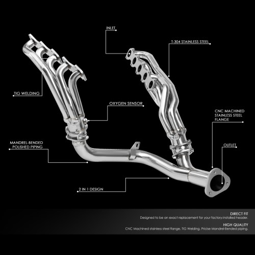 small resolution of for 1999 2004 ford f250 f350 super duty 6 8l v10 stainless steel mid length exhaust header manifold w y pipe walmart com