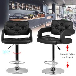 Leather Pub Chair Mic Stand 2pcs Adjustable Pu Swivel Bar Stools Modern Office Company Cafe Room Living