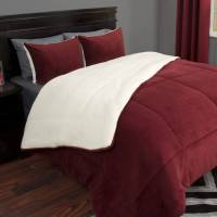 Somerset Home Sherpa/Fleece Bedding Comforter Set ...
