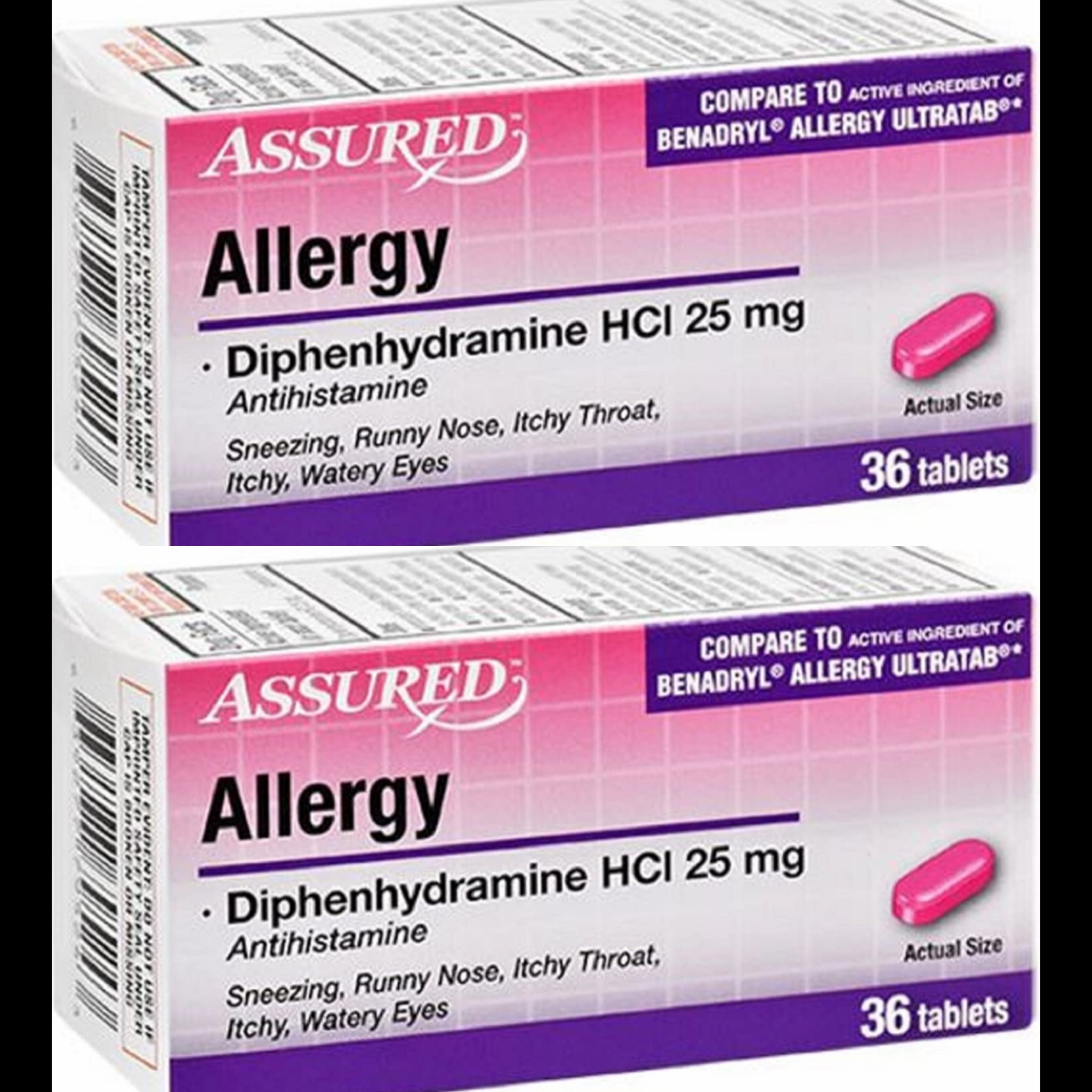 2 Lots Assured Allergy Diphenhydramine HCl 25 mg ...