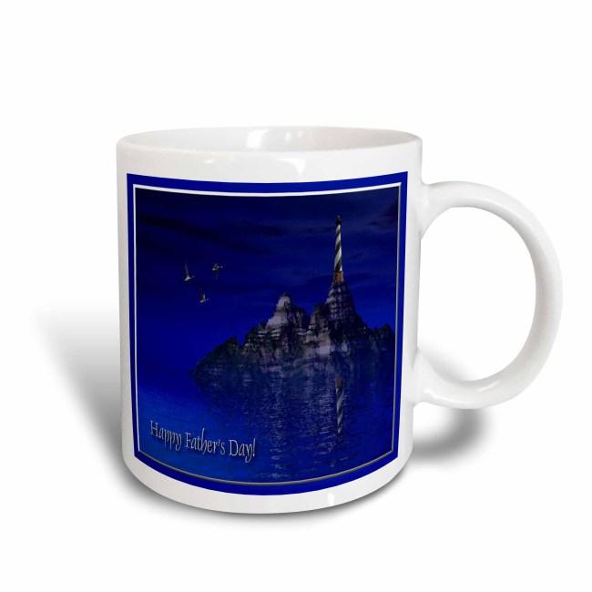 3dRose Blue Ocean Lighthouse, Happy Fathers Day, 3d, Ceramic Mug, 11-ounce
