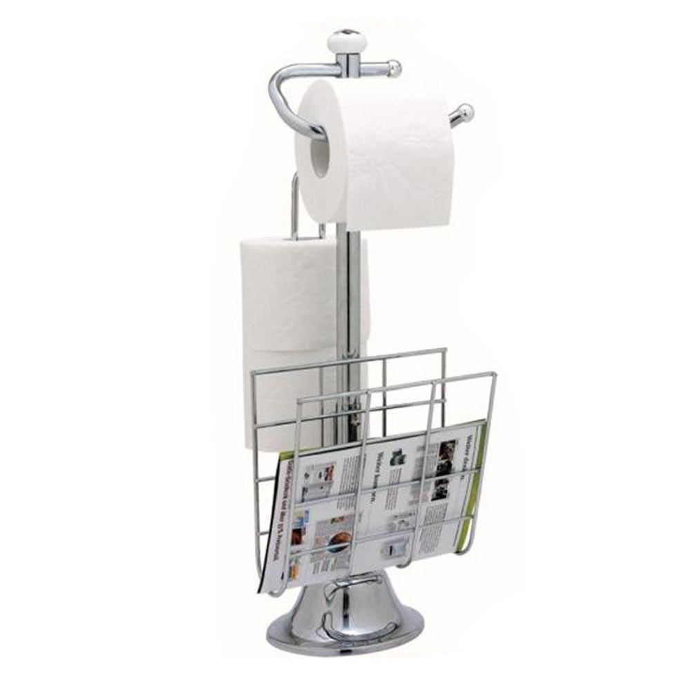 standing chrome magazine rack toilet paper tissue holder stand bathroom organize