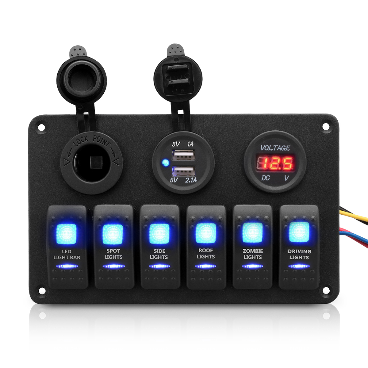 hight resolution of 6 gang waterproof aluminum 12v 24v boat marine rocker switch panel 2 usb charger cigarette socket voltmeter walmart com