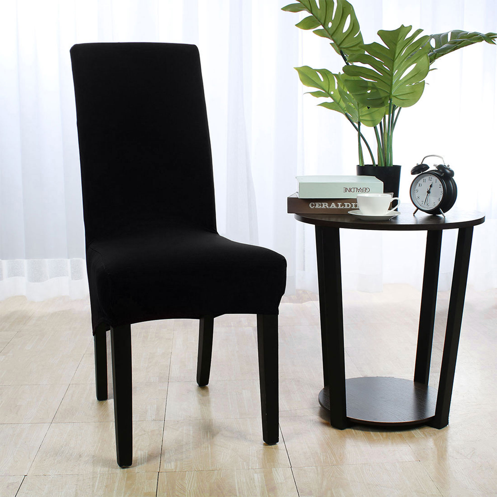 chair covers long back diy cushion with piping soft cover strech spandex dining seat black walmart com