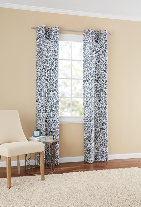 mainstays damask window curtain panel pair 60 x 84 indigo