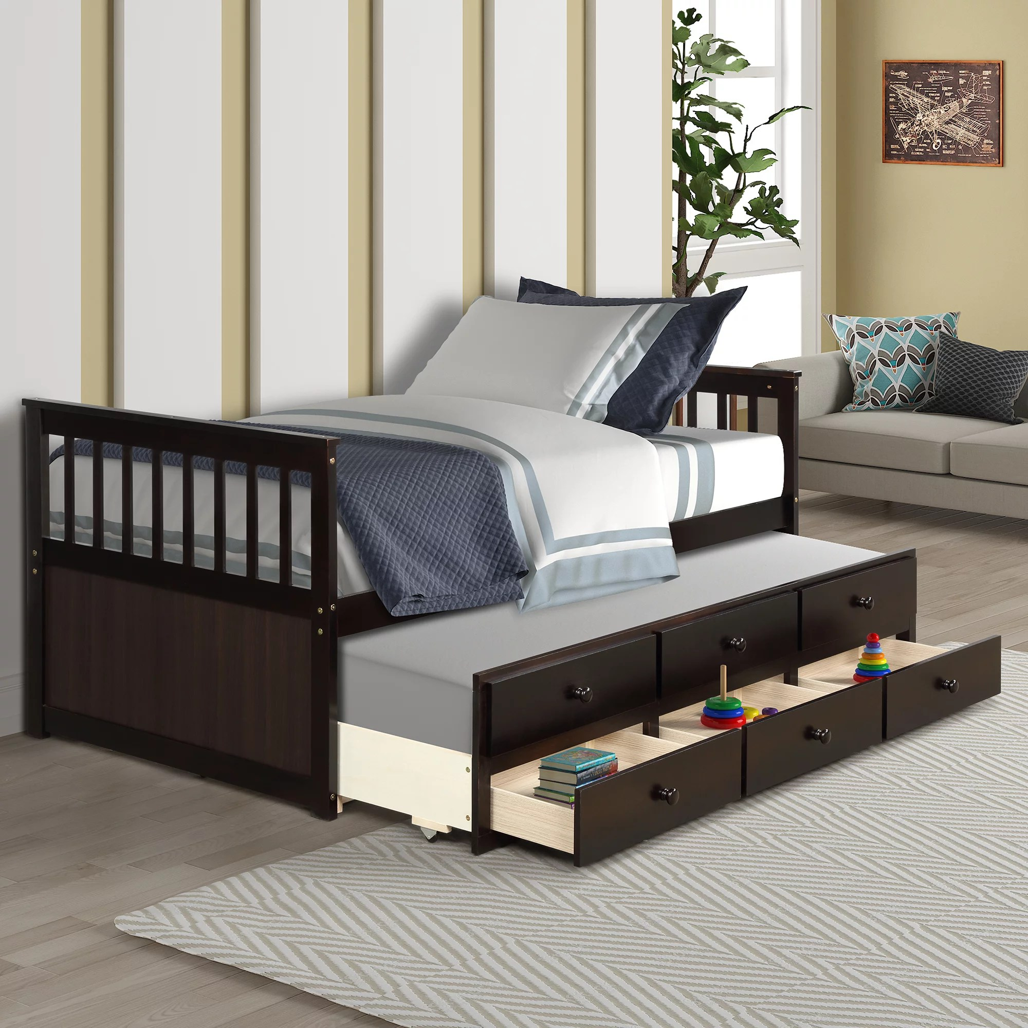 segmart twin daybed bed with trundle captain s bed with 3 storage drawers farmhouse twin style solid wood trundle with slatted headboard and