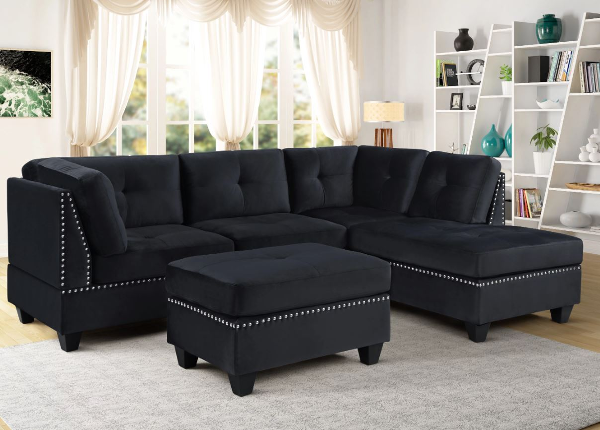 seres sectional sofa upholstered in black velvet with free ottoman
