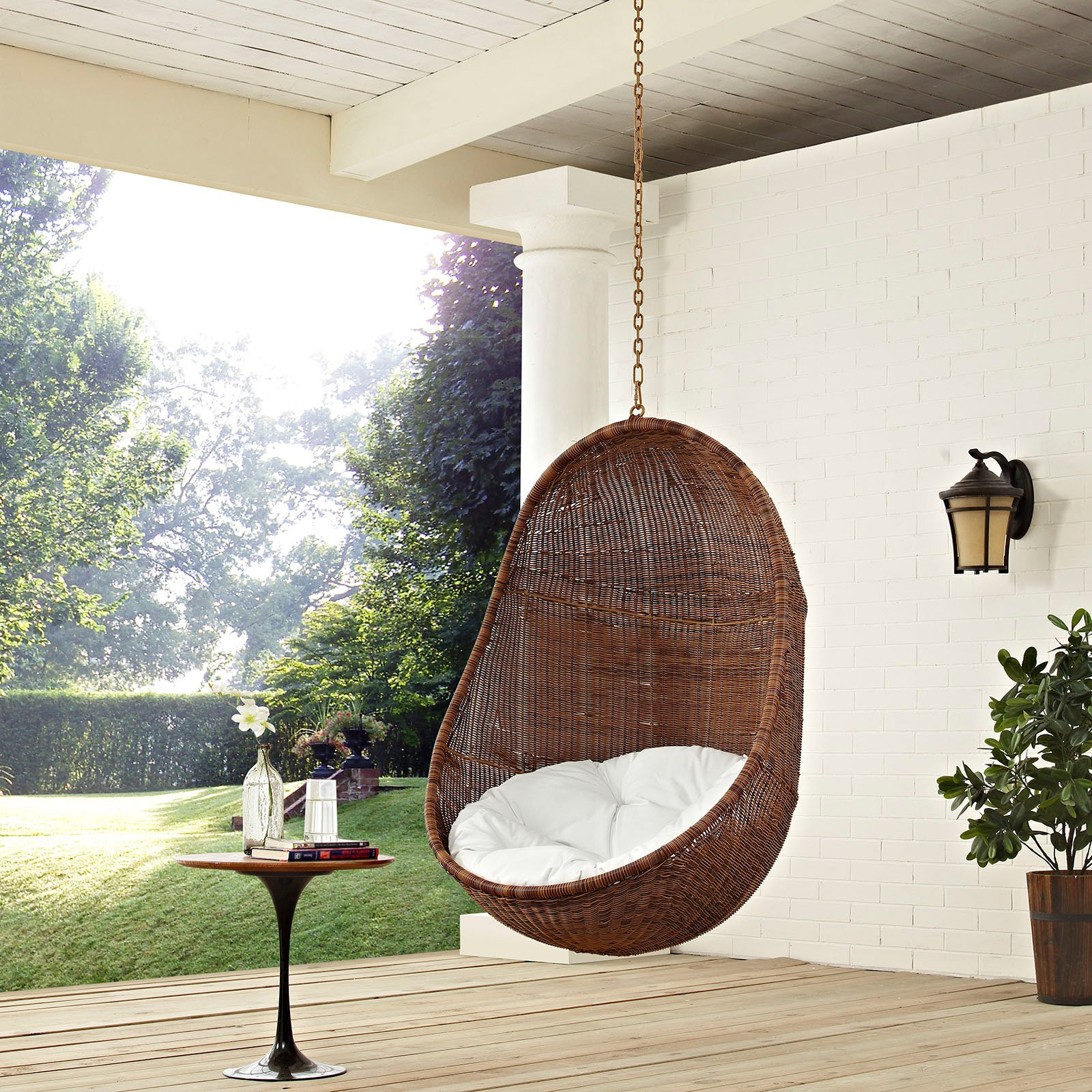 swing chair with stand outdoor covers for rent hanging chairs walmart com product image modway bean patio without in coffee white