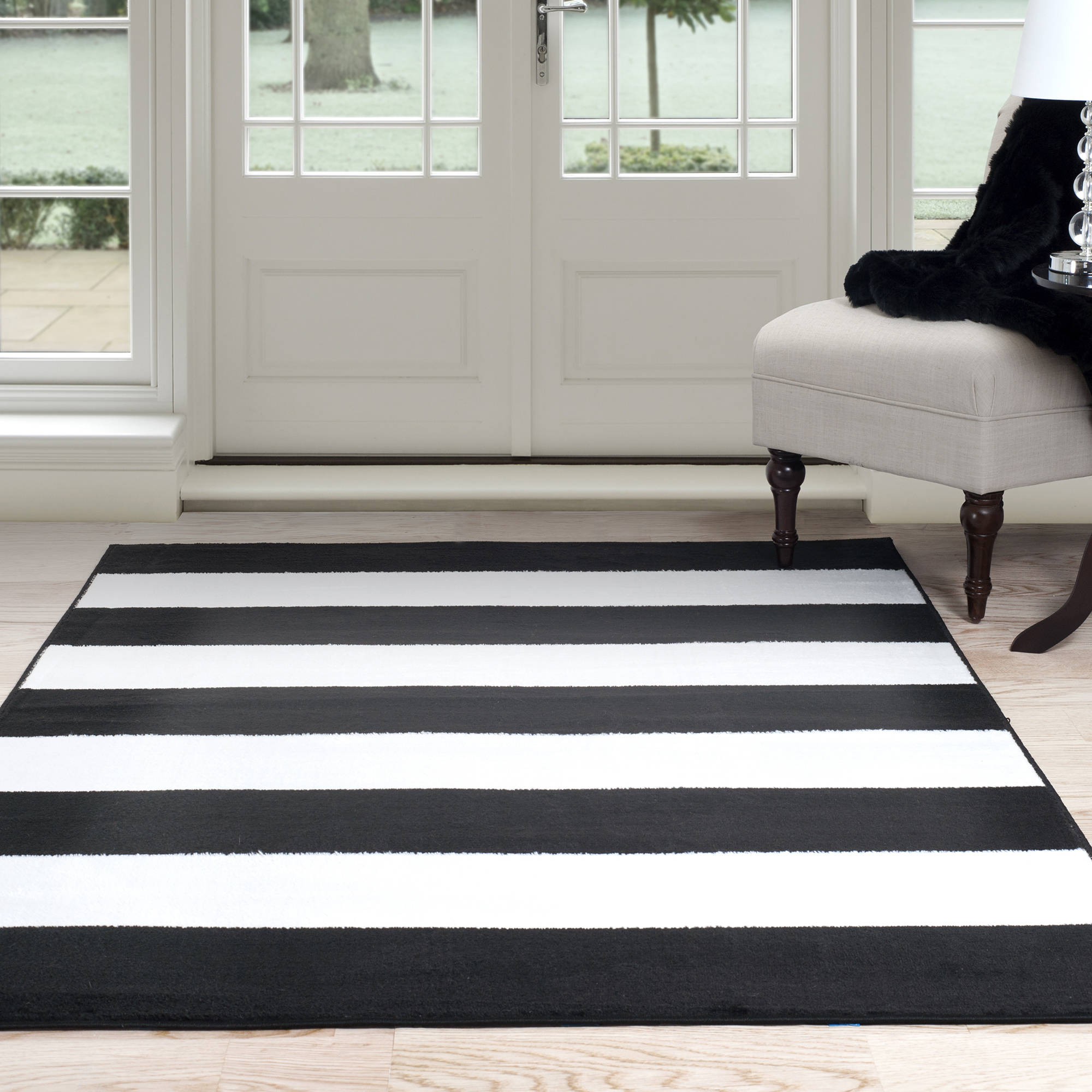 Somerset Home Breton Stripe Area Rug, Black and White