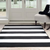 Somerset Home Breton Stripe Area Rug, Black and White ...