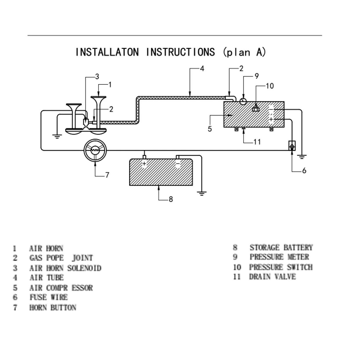 hight resolution of 4 trumpet train vehicle air horn 12v 24v compressor tubing 150db 120 psi kit car