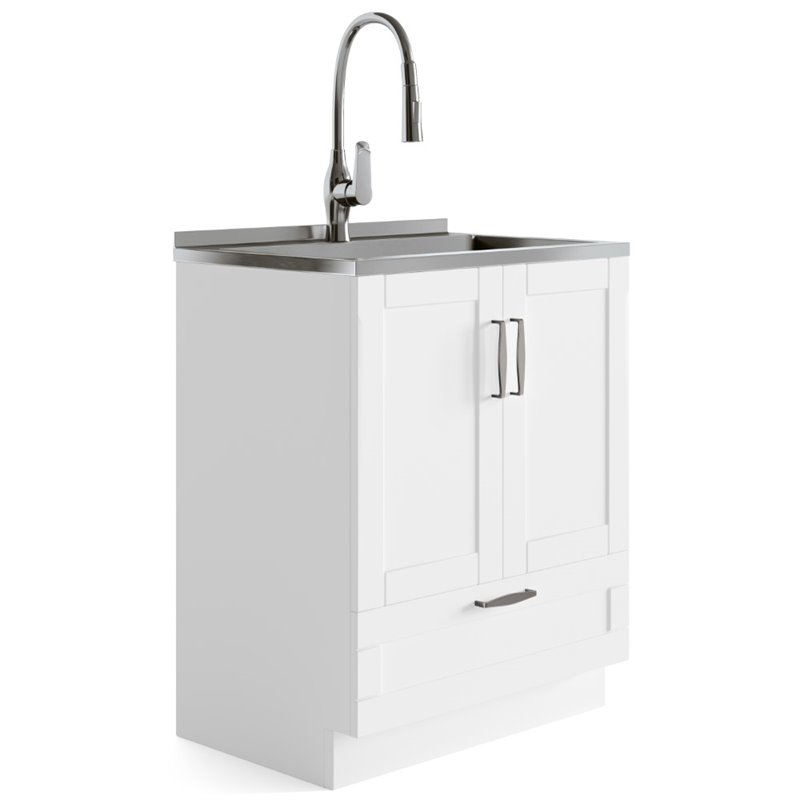simpli home reed 28 laundry sink cabinet in white