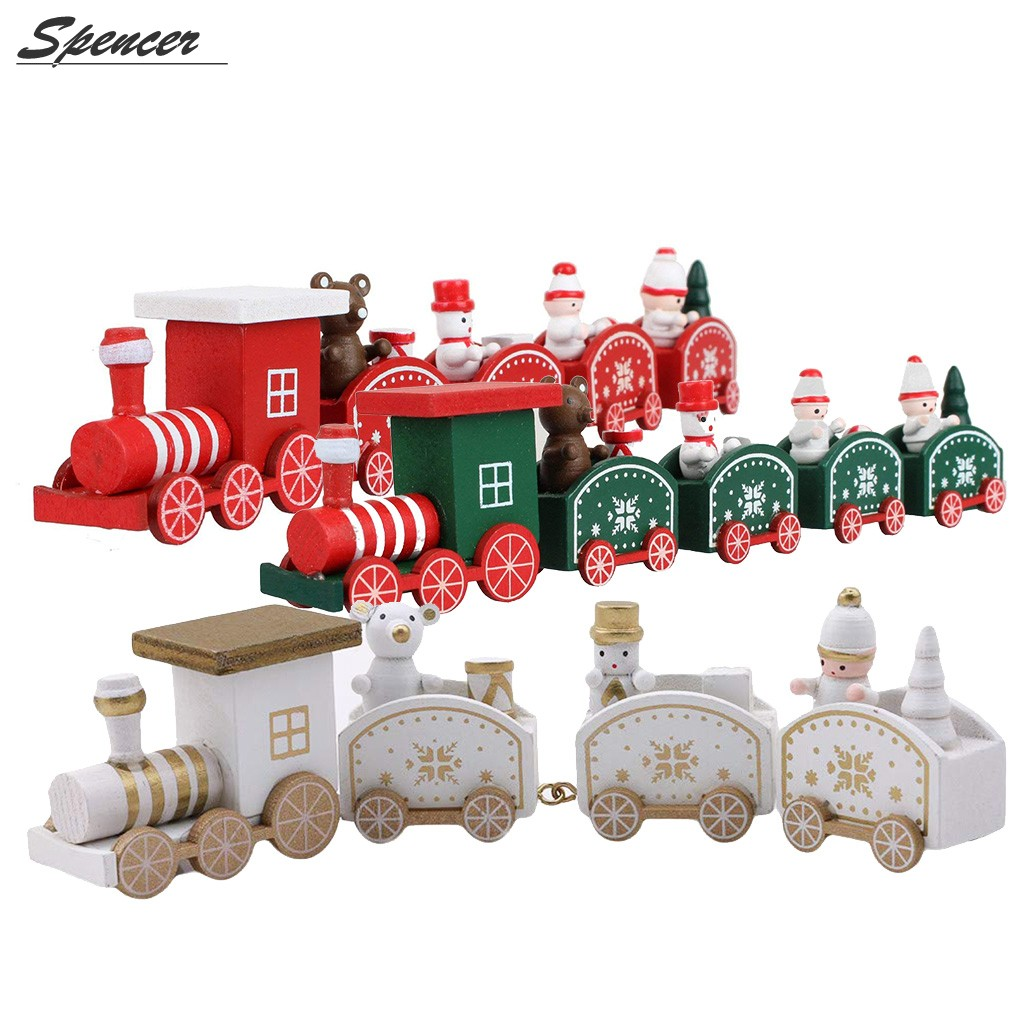 Spencer Cute Christmas Wooden Train Set Tree Ornaments