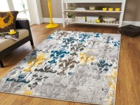 Rugs for Living Room Yellow Blue Grey 8x10 Area Rugs on ...