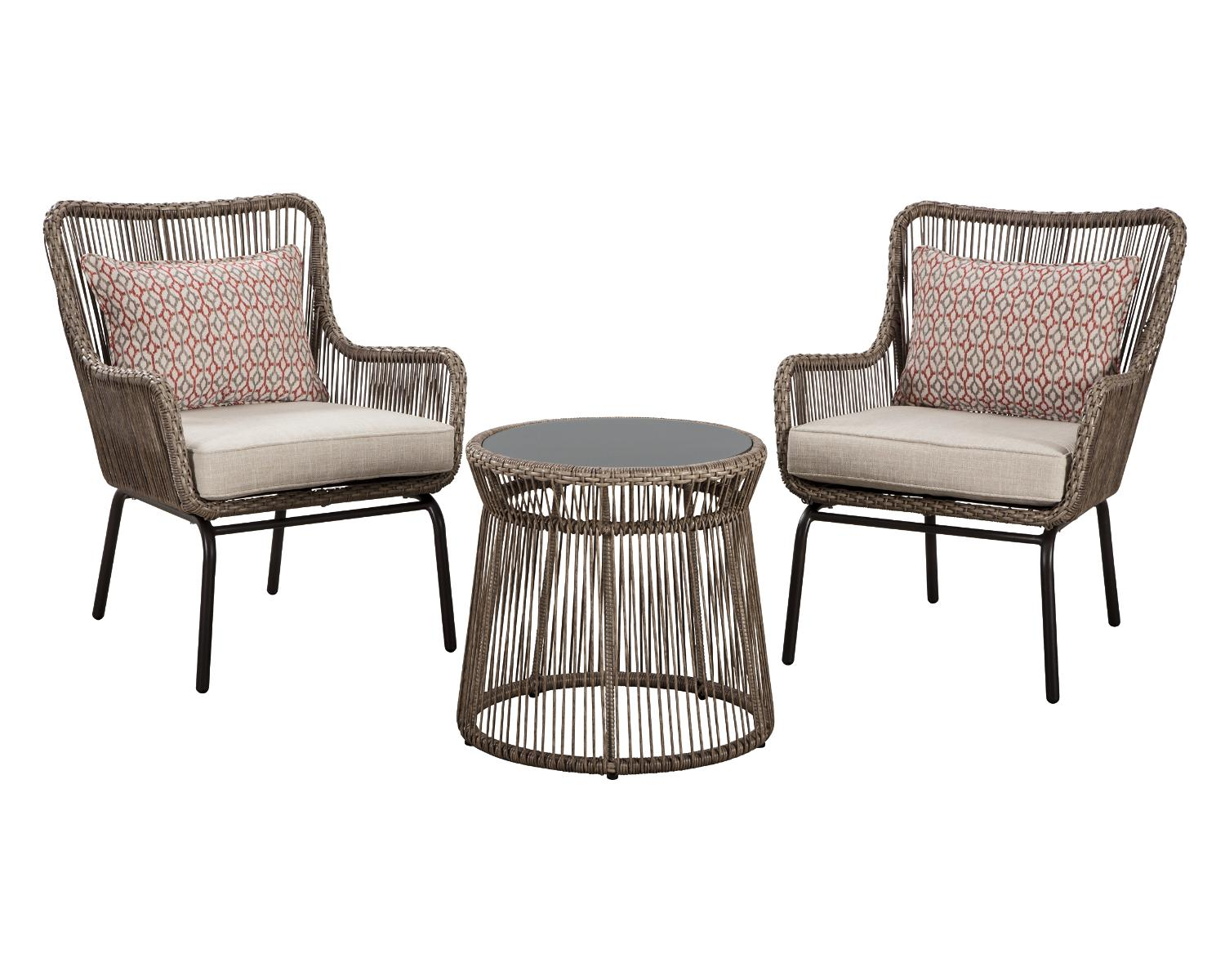 signature design by ashley cotton road outdoor brown table and chairs set of 3 walmart com