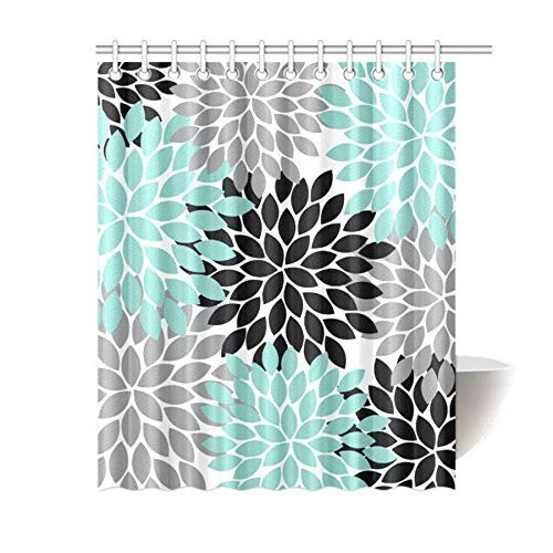 greendecor black grey green dahlia floral waterproof shower curtain 13 piece set with hooks 60x72