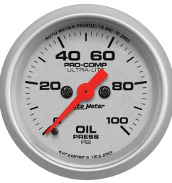 autometer 4353 ultra lite electric oil pressure gauge 2 1 16 in 0 100 psi incl 1 8 in npt sender 8 ft tubing or wiring harness full sweep  [ 1500 x 1500 Pixel ]