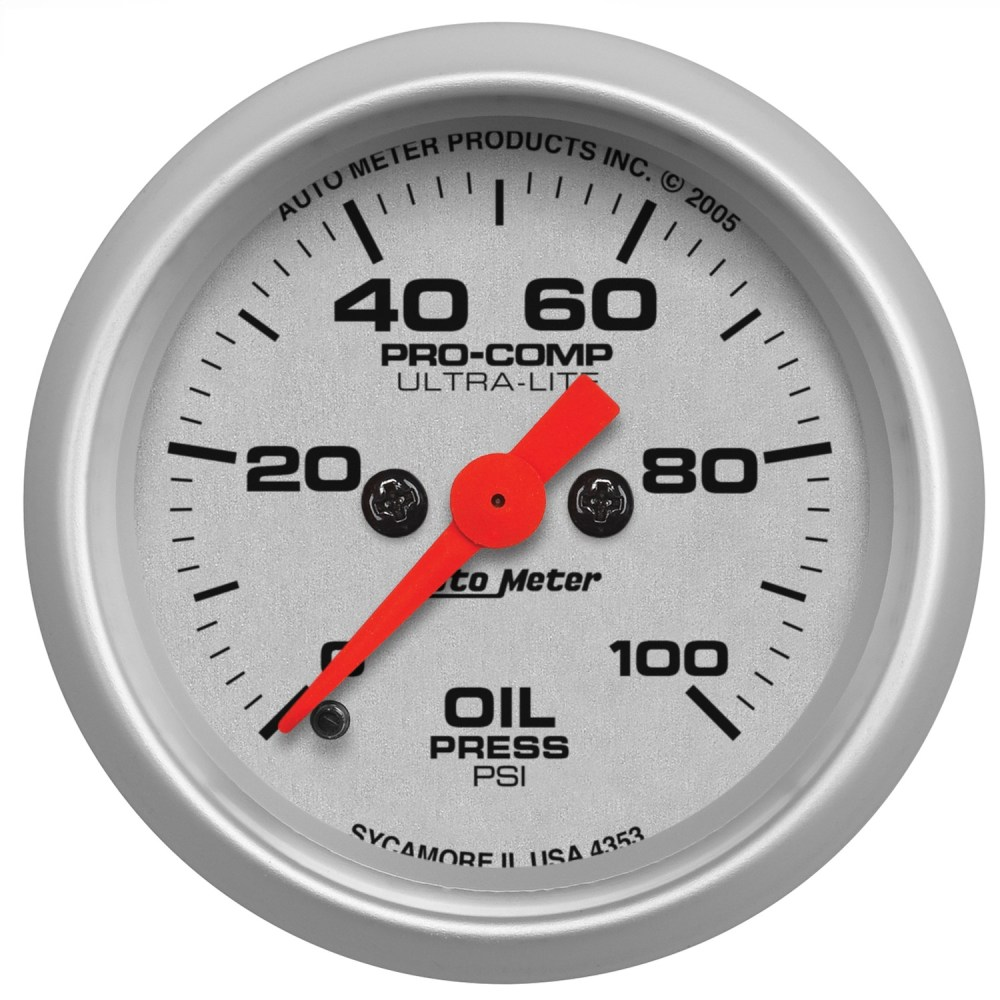 medium resolution of autometer 4353 ultra lite electric oil pressure gauge 2 1 16 in 0 100 psi incl 1 8 in npt sender 8 ft tubing or wiring harness full sweep