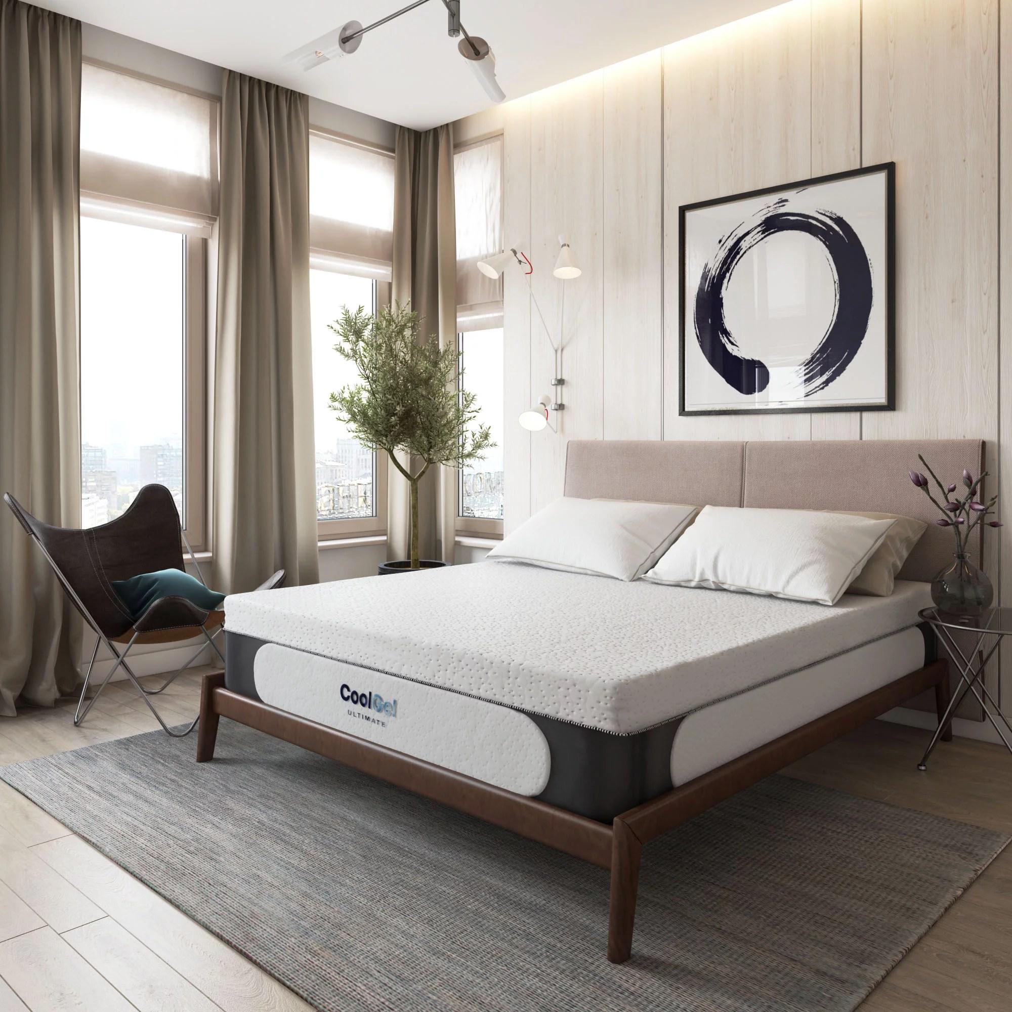 modern sleep 14 cool gel memory foam mattress with bonus 2 pillows queen