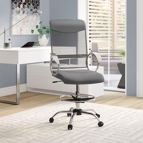 modern drafting chair red accent with arms orren ellis guzzi ergonomic mesh walmart com