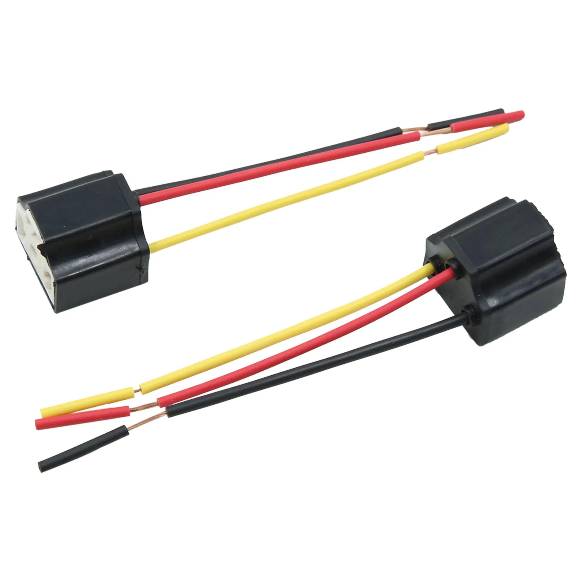 hight resolution of 5pcs dc 12v headlight foglight h4 bulb socket plug connector wiring harness