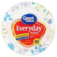 "Great Value Everyday Premium Paper Plates, 8 5/8"", 45 ..."