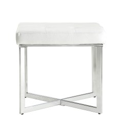 White Tufted Chair Red Bunjo Bungee Carolina And Table Maja P U Seat Vanity Bench With Chrome Sled Base Walmart Com