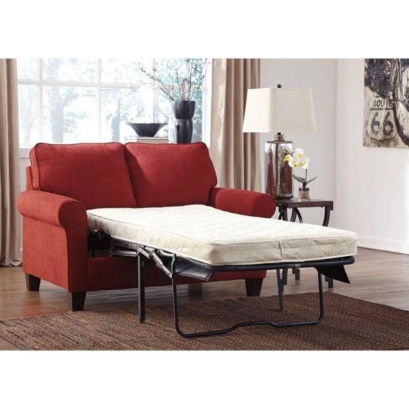 signature design by ashley furniture zeth twin sofa sleeper in crimson