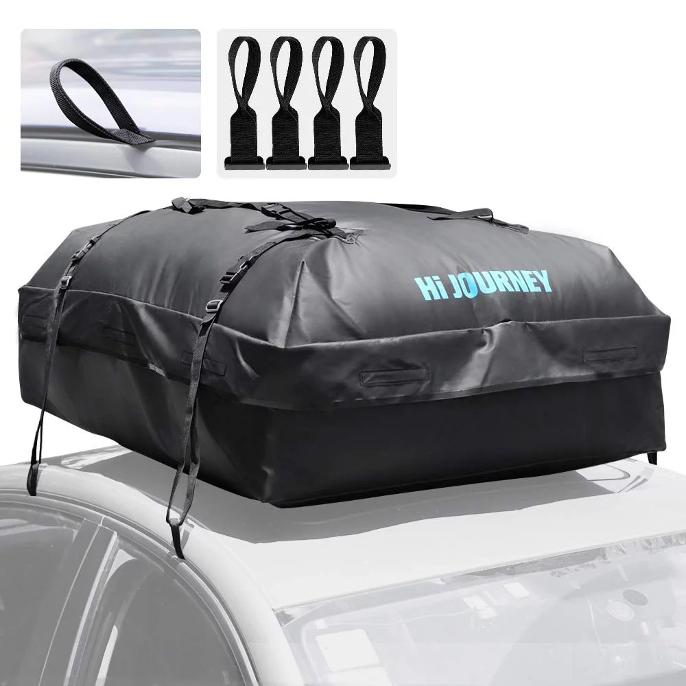 rabbitgoo rooftop cargo carrier waterproof car roof top cargo bag with heavy duty straps soft shell luggage storage bag for vehicles with without