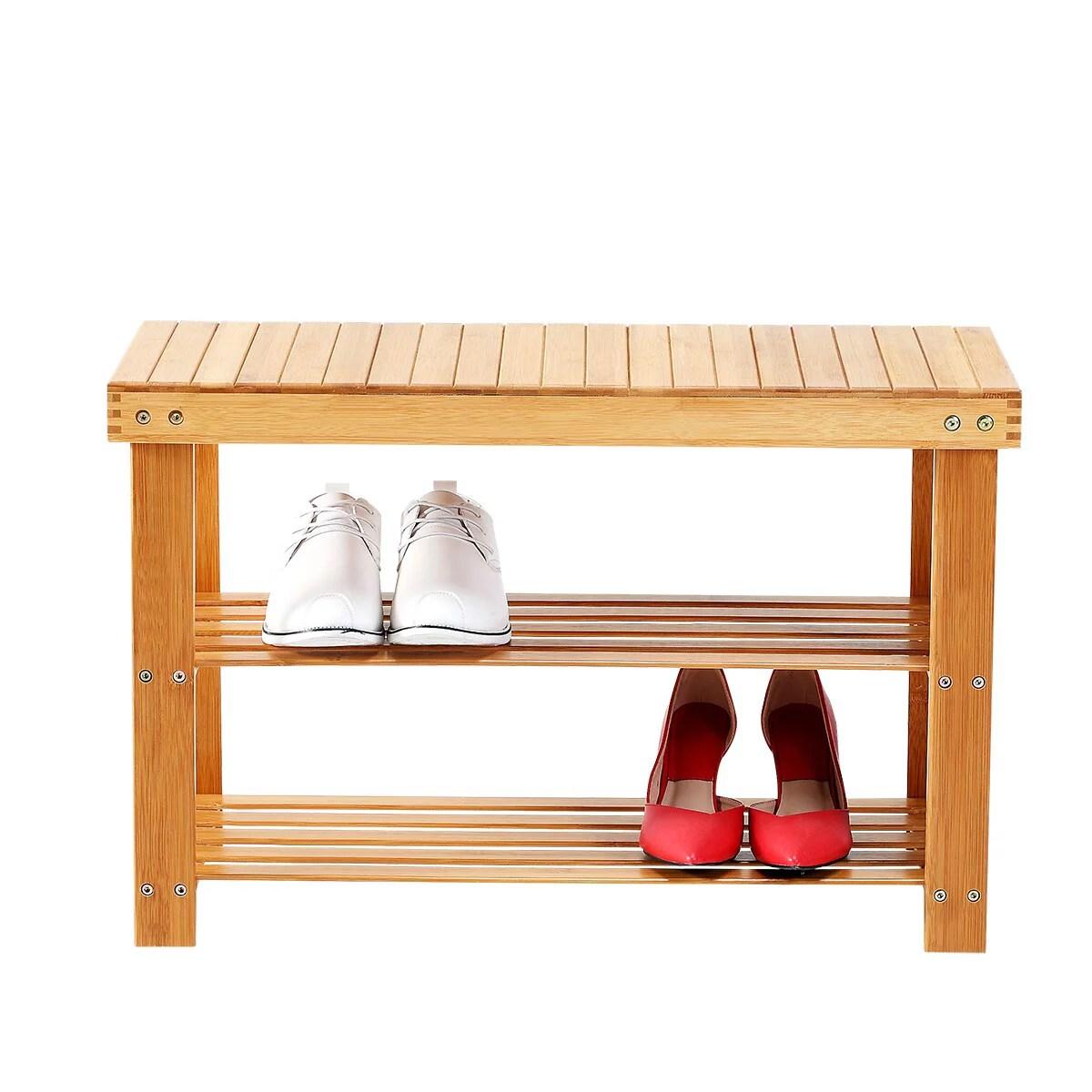 new ridge home goods natural bamboo shoe rack bench 2 tier shoe organizer entryway seat with storage shelf hallway furniture