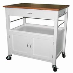 White Kitchen Island Cart Sink Black Ehemco Natural Butcher Block Bamboo Top With Base Walmart Com