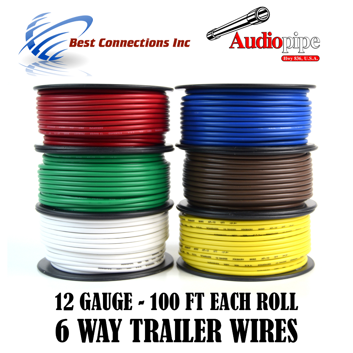 hight resolution of 6 way flexible cord trailer wire harness light cable led 12 gauge 100ft 6 colors walmart com